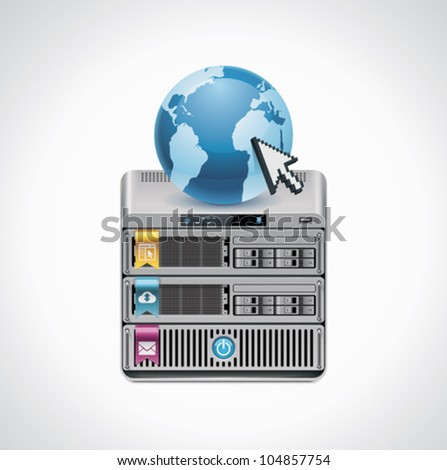 Vector server icon - stock vector