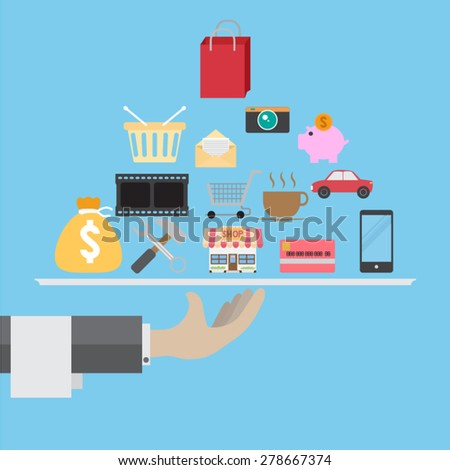 Vector service concept in flat style - hand with serving plate - stock vector