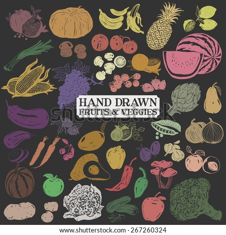 Vector set: A collection of various hand-drawn colorful fruits and vegetables