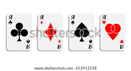 Vector. Set aces wish designer suits symbols isolated on white background.