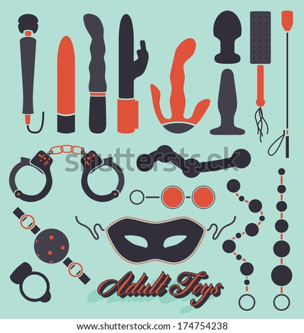 Vector Set: Adult Sex Toys Silhouettes - stock vector