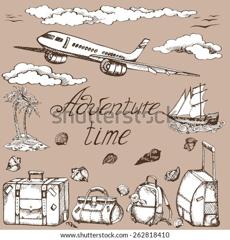 "vector set ""adventure time"" : the plane, the old ship, clouds, palm trees, suitcase, travel bag, kids backpack, bag, seashells, seagulls."