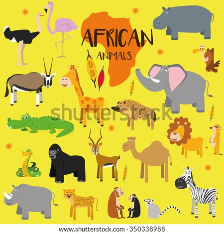 Vector set African animals. Ostrich, flamingo, oryx, impala, giraffe, crocodile, snake, gorilla, rhino, cheetah, zebra, camel, elephant, lion, hippo... Flat style character. Vector illustration. - stock vector