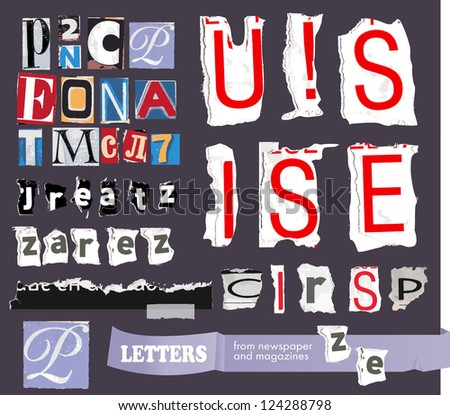vector set- alphabet based on newspaper cutouts -paper scraps -calligraphical elements for a decor - stock vector