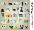 vector set alphabet:small collage latters based on ripped paper pieces. - stock photo