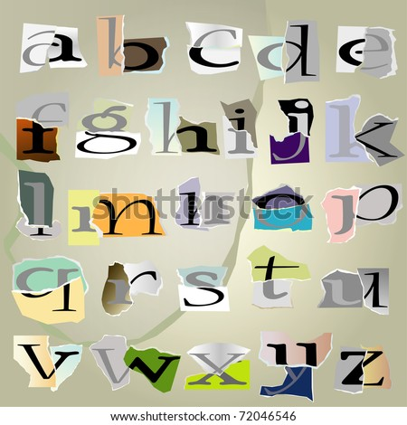 vector set alphabet:small collage latters based on ripped paper pieces. - stock vector