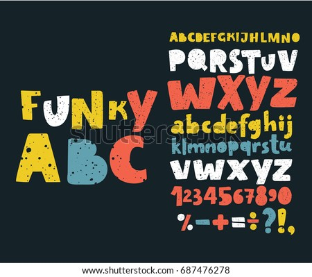 Vector set Alphabets. Cute colorful English alphabet, vintage font on dark background, bold, funny hand written capital ABC. Lowercase and uppercase letters, numbers and sigst on dark background