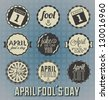 Vector Set: April Fool's Day Labels and Icons - stock vector