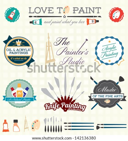 Vector Set: Artist Painting Labels - stock vector