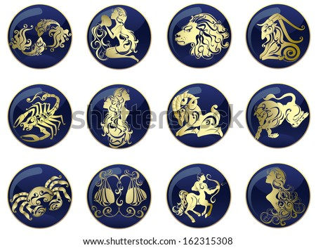 Vector set astrology sign. Illustrations of the twelve horoscope zodiac star icons