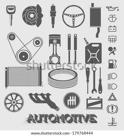 Vector Set: Automotive Parts and Icons - stock vector