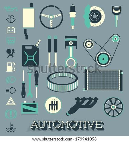 Vector Set: Automotive Parts Icons and Symbols - stock vector