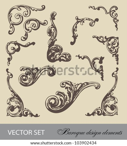 vector set: Baroque design elements and page decoration - lots of useful elements to embellish your layout - stock vector