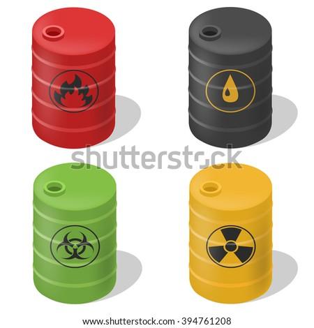 Vector set barrels isometric. Isolated set barrels icons. Flammable barrel icon. Oil barrel icon. Toxic barrel icon. - stock vector