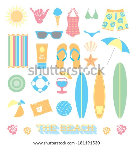Vector Set: Beach Fun Objects - stock vector
