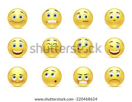 Vector set beautiful smiles - stock vector