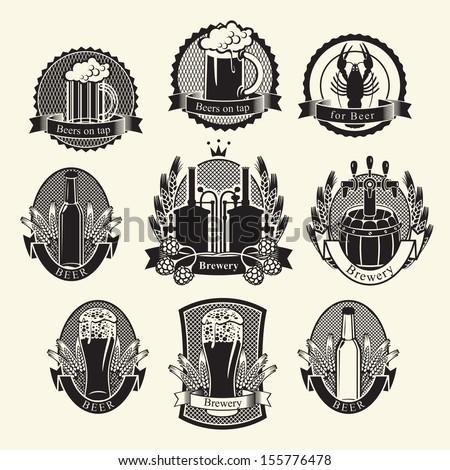vector set Beer labels signs symbols - stock vector