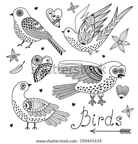 Vector set birds and hearts. Hand drawn elements for design. - stock vector