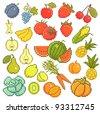 Vector set: 8 bit fruits and vegetables. - stock vector