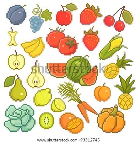 Vector set: 8 bit fruits and vegetables. - stock vector