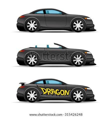 Vector set. Black cars. - stock vector