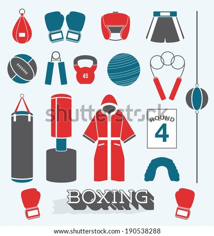 Vector Set: Boxing Objects and Icons - stock vector