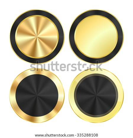 vector set bright glossy gold with a black background of centric circles round of medals that can be used as buttons, banners, labels - stock vector