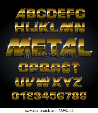 vector set bronze metallic fonts