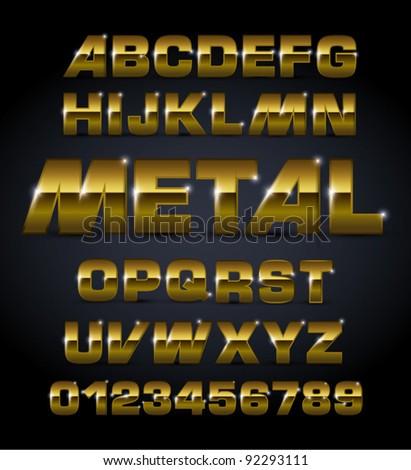 vector set bronze metallic fonts - stock vector