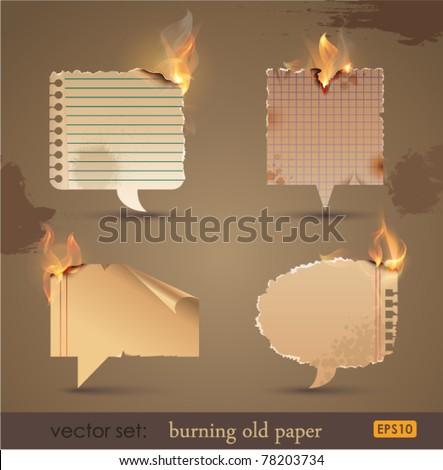 Vector set: Burning Old Paper. Vector Illustration - stock vector