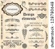 vector set: calligraphic design elements and floral frames.All objects are grouped separately. - stock vector