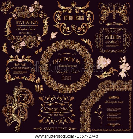 vector set: calligraphic design elements and floral frames. All objects are grouped separately.