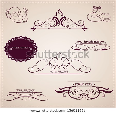 Vector set: calligraphic design elements and page decoration.
