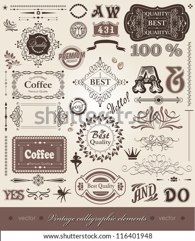 Vector set- calligraphic design elements and page decoration_elements for labels and signs - stock vector