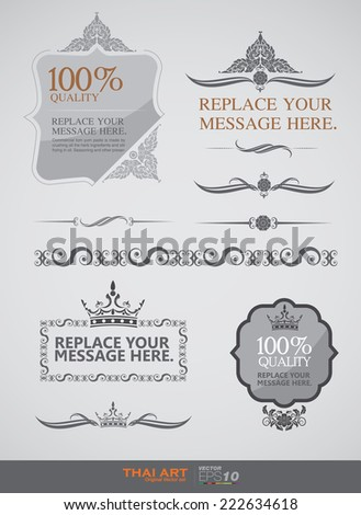 vector set: calligraphic design elements and page decoration - lots of useful elements to embellish your layout, thai art - stock vector