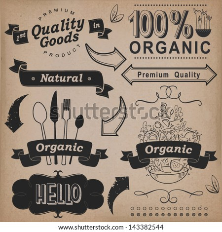 Vector set: calligraphic design elements and page decoration, Premium Quality and Natural Product, Organic Food. Vintage label collection. - stock vector