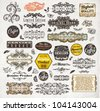 vector set: calligraphic design elements and page decoration, Premium Quality and Satisfaction Guarantee Label collection with vintage engraving flowers, leafs and berries for retro summer design. - stock photo