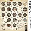 vector set: calligraphic design elements and page decoration, Premium Quality and Satisfaction Guarantee Label collection with black grungy design | Retro colors version - stock vector