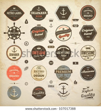vector set: calligraphic design elements and page decoration, Premium Quality and Seafarer with Shipbuilder Label collection with black grungy design | Old paper texture - stock vector