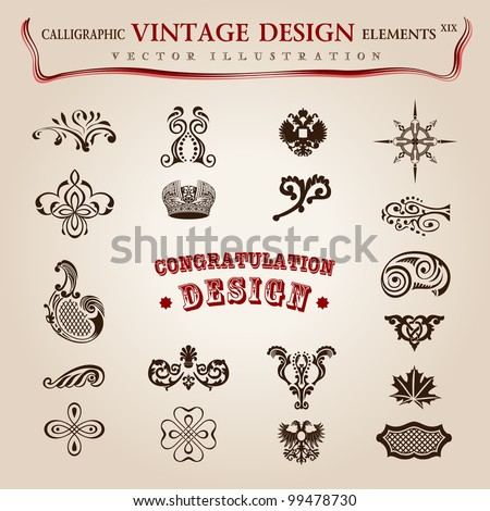 Vector set. calligraphic design elements and page decoration, premium quality collection with royal ornament - stock vector
