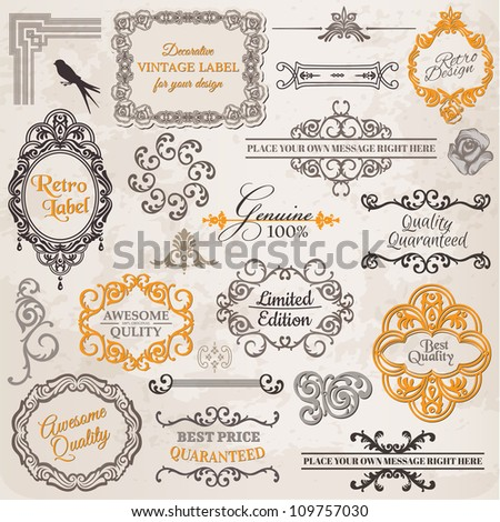 Vector Set: Calligraphic Design Elements and Page Decoration, Vintage Frame collection with Flowers - stock vector
