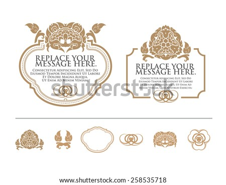vector set: calligraphic design elements and wedding elements. - stock vector