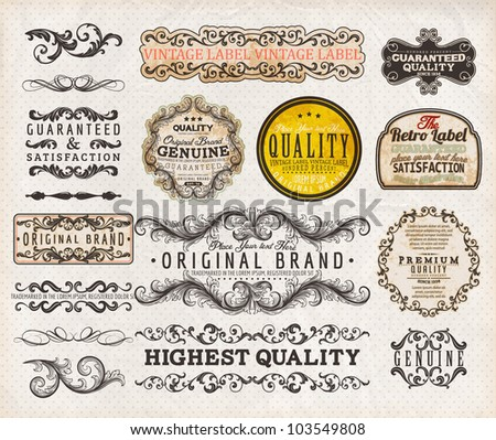 Vector set | calligraphic design elements, engraving flowers and retro frames, Premium Quality and Satisfaction Guarantee vintage design Labels | Old style, vector collection. - stock vector
