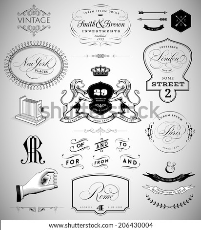Vector Set: Calligraphic Design Elements, Page Decoration,  Vintage Crests and Emblems, Ribbons, Labels and Cities Lettering - stock vector