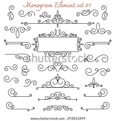 vector set. calligraphic monogram flourish swirl for design and decoration - stock vector