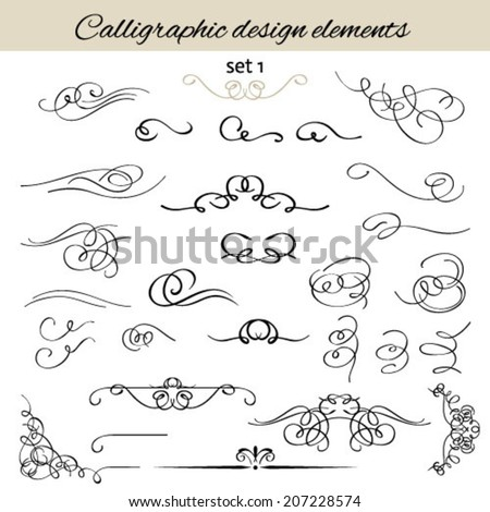 Vector set calligraphic vintage borders, vignettes; decorative elements. - stock vector