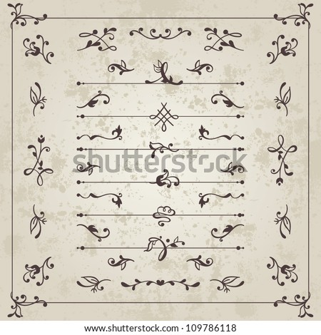 Vector set: calligraphic vintage dividers and floral elements for the design of books, documents, letters, invitation, menus - stock vector