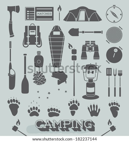 Vector Set: Camping and Great Outdoors Icons and Symbols - stock vector