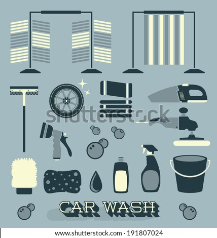 Vector Set: Car Wash Icons and Silhouettes - stock vector
