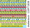 Vector Set: Caution Tape Labels and Banners - stock vector